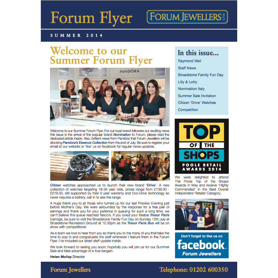 Forum Jewellers Flyer – Summer 2014