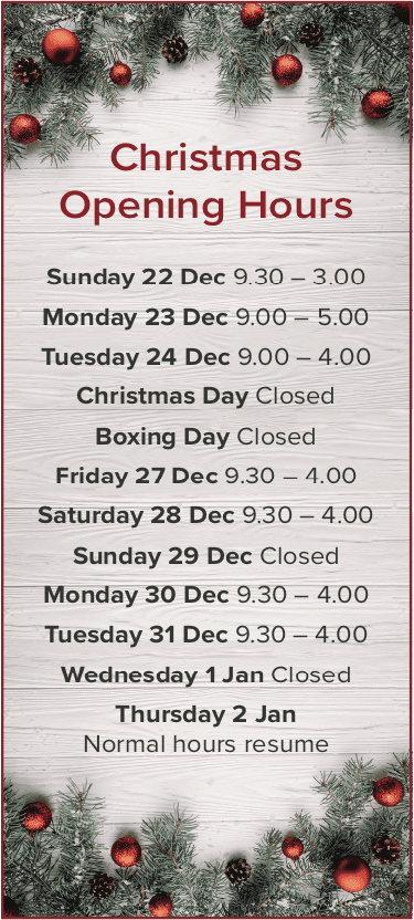 Forum Jewellers Christmas opening times 2019
