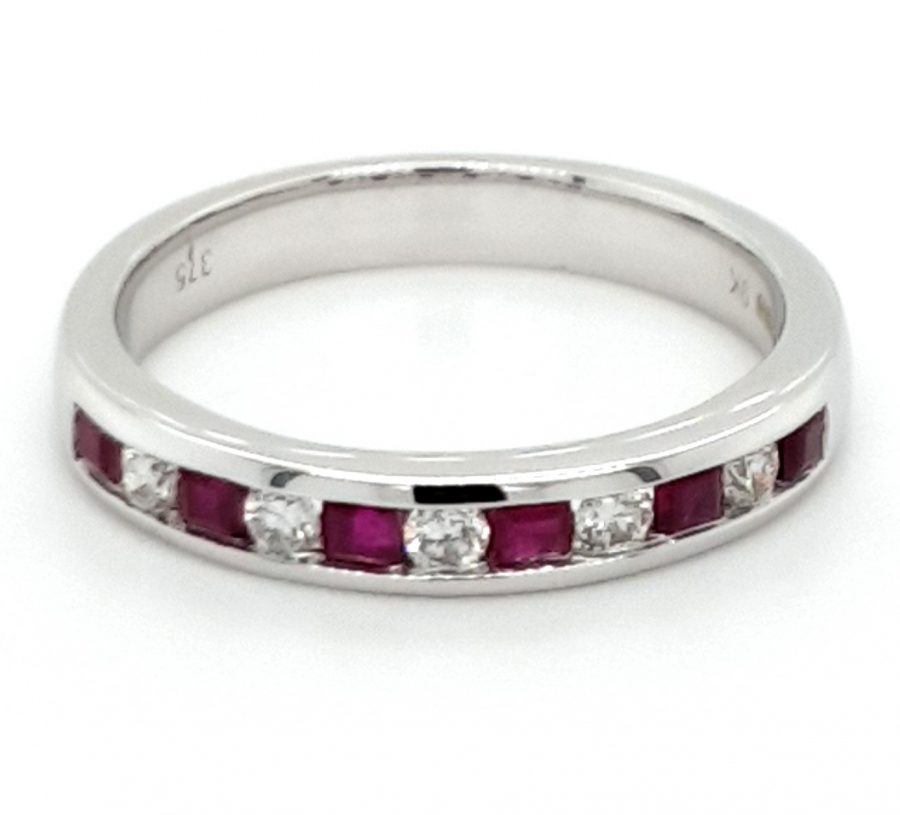 9ct White Gold Ruby and Diamond Eternity Ring