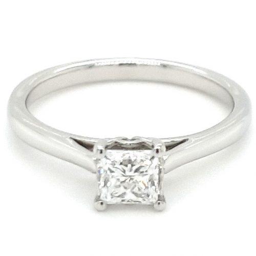 Platinum Single Princess Cut Diamond Engagement Ring