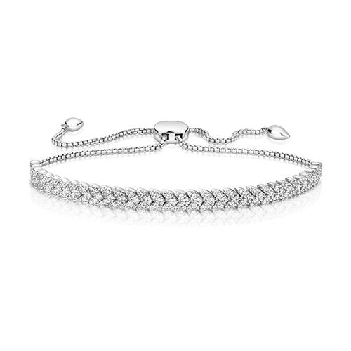 Lapidary Silver Cubic Zirconia Arrow Claw Set Bracelet