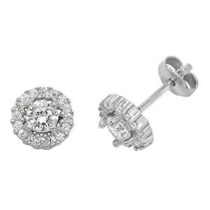 silver and cubic zirconia Halo stud earrings