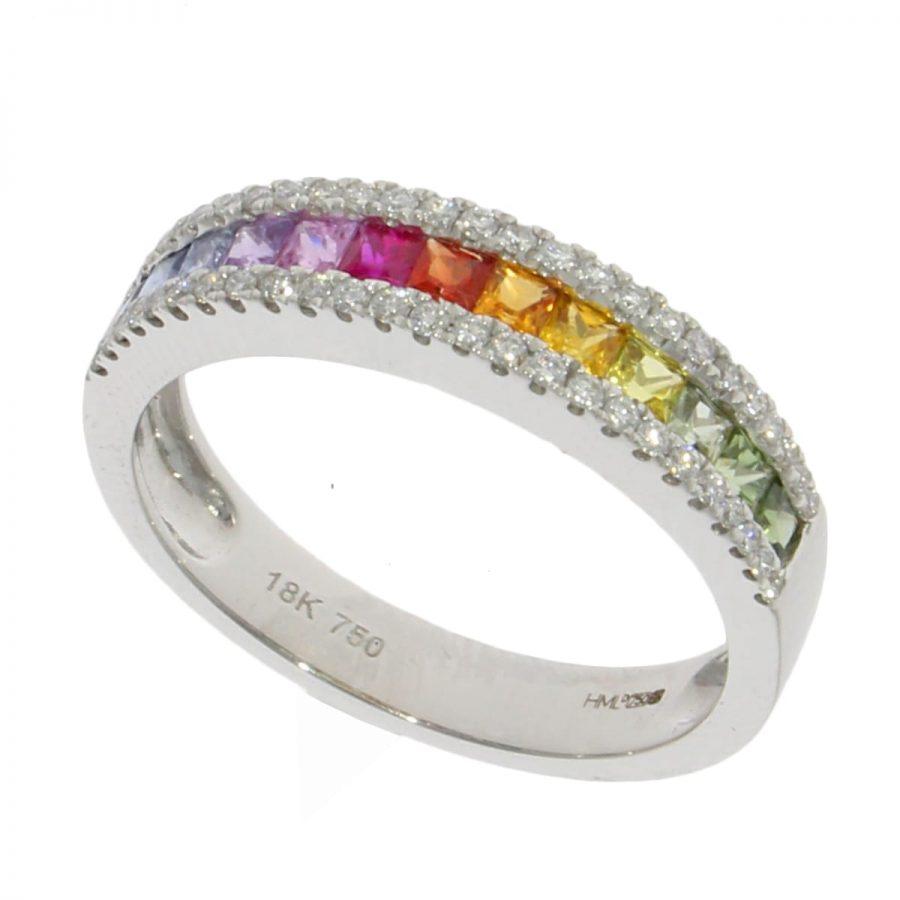 White Gold Multi Colour Sapphire and Diamond Dress Ring Size M