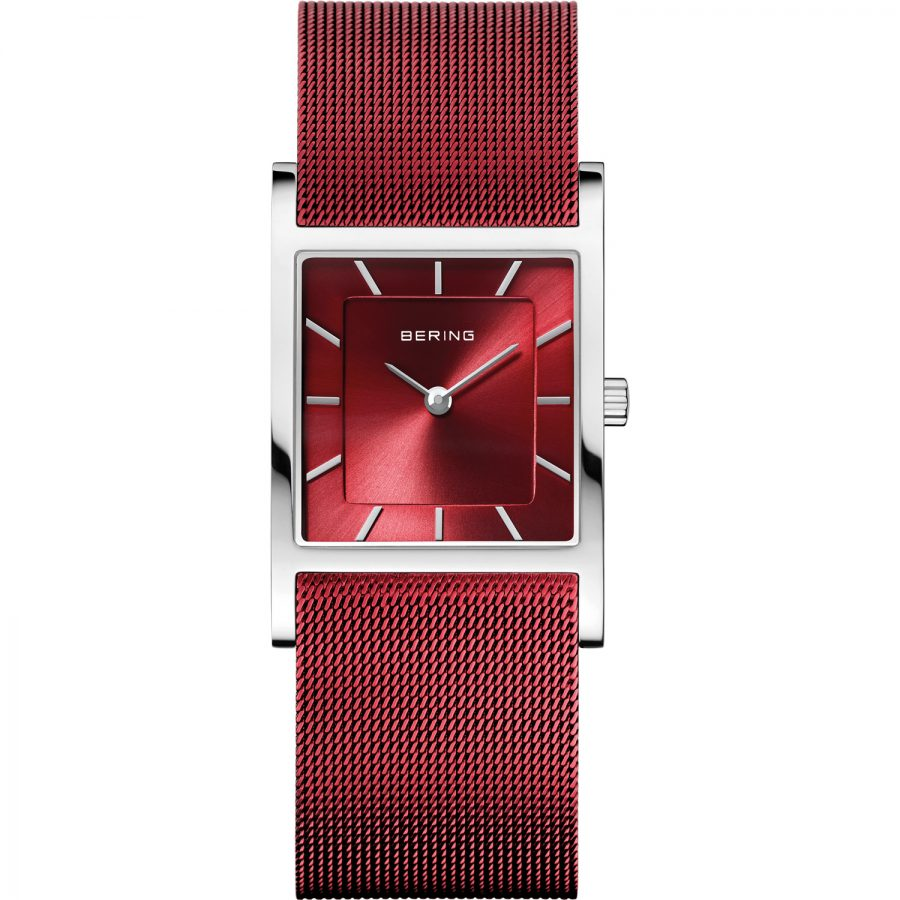 Square Bering Ladies red stainless steel Bracelet Watch silver case