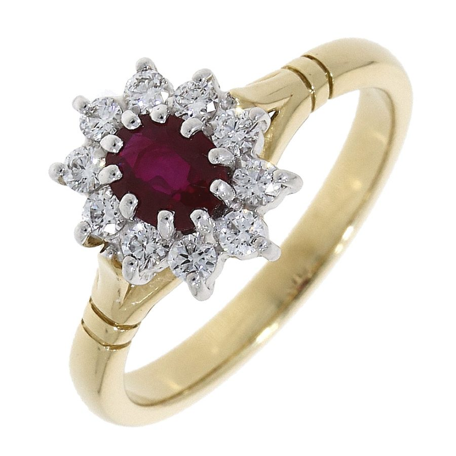 Gold Ruby and Diamond Cluster Ring Size M