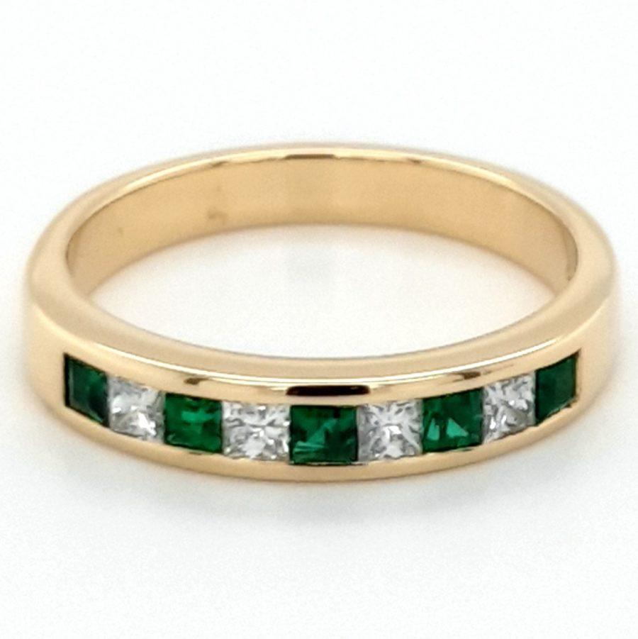 Gold Emerald & Diamond Eternity Ring