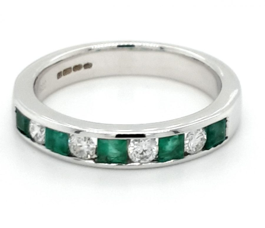 9ct White Gold Emerald and Diamond Eternity Ring M