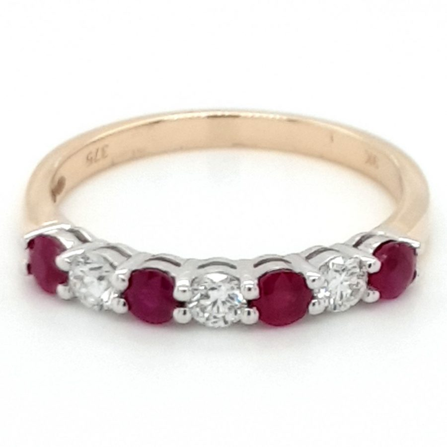 9ct Gold Ruby & Diamond Eternity Ring RD439R