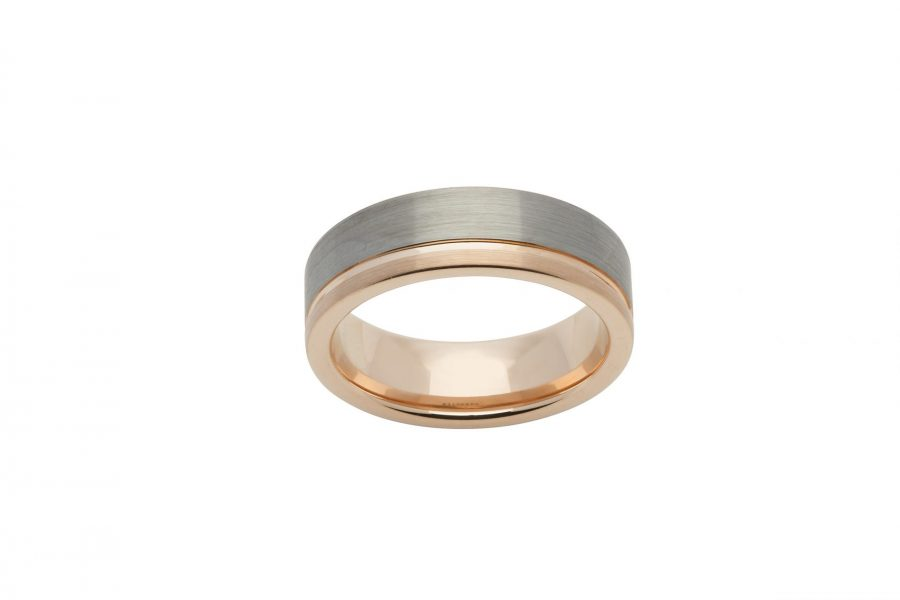 Unique Gents Brushed Gold and Silver Tungsten Carbide Ring
