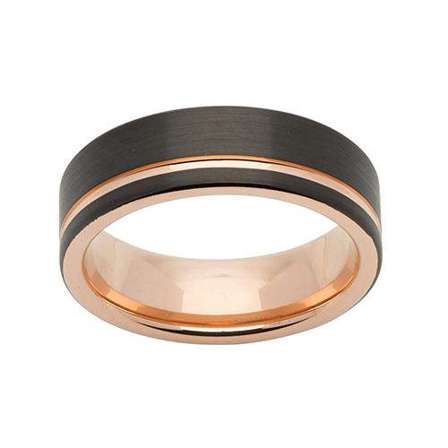 Unique Gents Rose Line Tungsten Black Carbide 7mm Ring Size 64