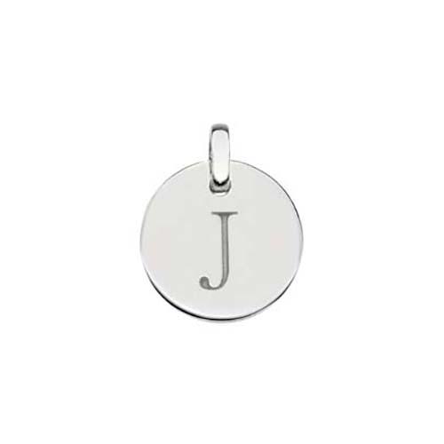Silver Initial J Disc Pendant