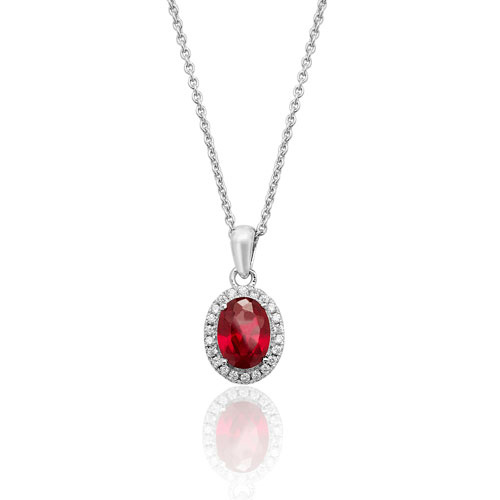 Silver Oval Red and White Cubic Zirconia Halo Pendant and Chain