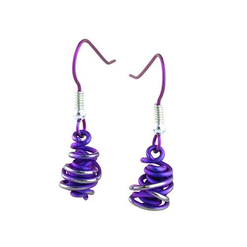 Ti2 Titanium Chaos Drops Purple Earrings