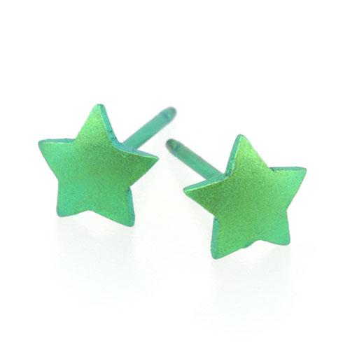 Ti2 Titanium 6mm Green Star Stud Earrings