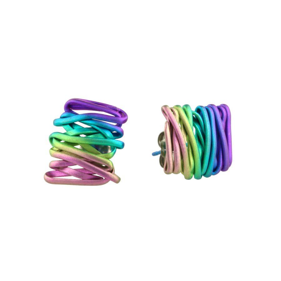 Ti2 Titanium Chaos Rainbow Stud Earrings