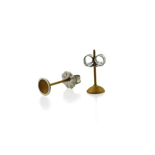 Ti2 Titanium 6mm Domed Stud Tan Earrings