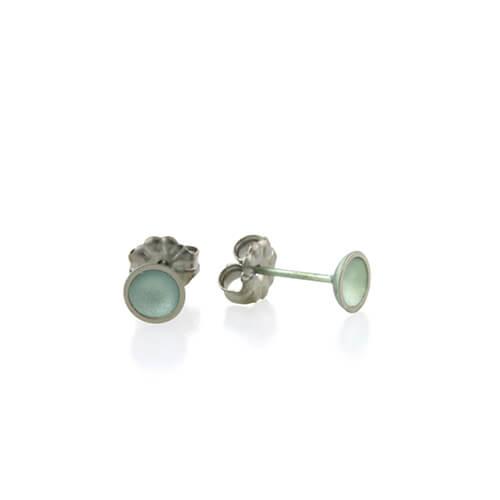 Ti2 Titanium 6mm Domed Stud Light Green Earrings