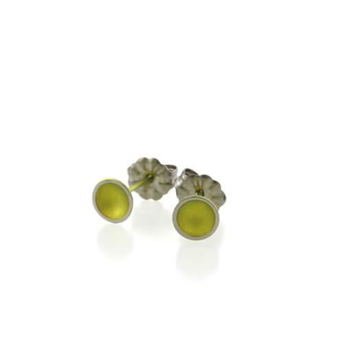 Ti2 Titanium 6mm Domed Stud Yellow Earrings