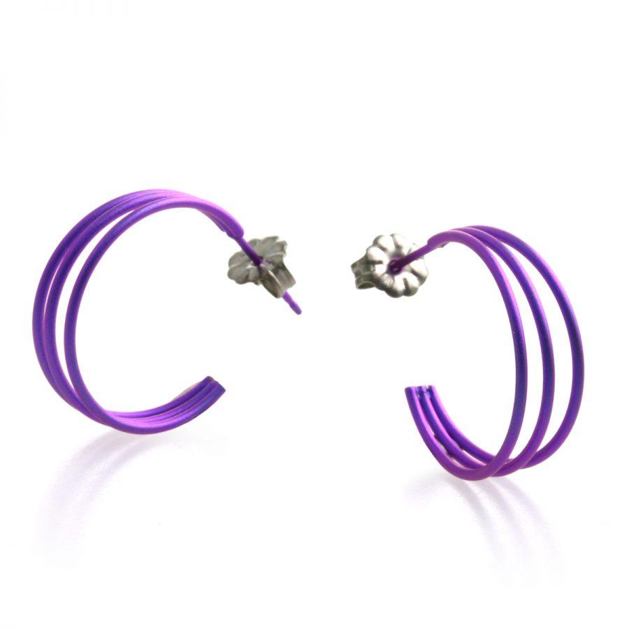 Ti2 Titanium Purple Wire Hoop Earrings