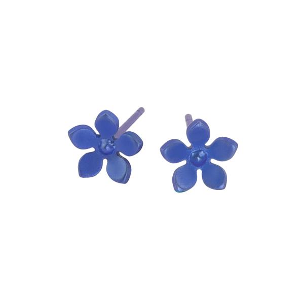 Ti2 Titanium 8mm Blue Flower Stud Earrings