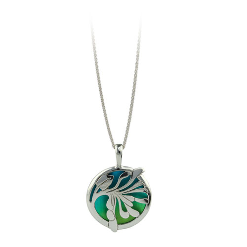 Ti2 Titanium and Silver Honey Suckle Green Pendant and Chain