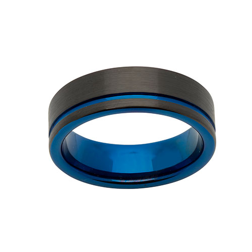 Unique Gents Tungsten Blue and Black Carbide Ring Size 68