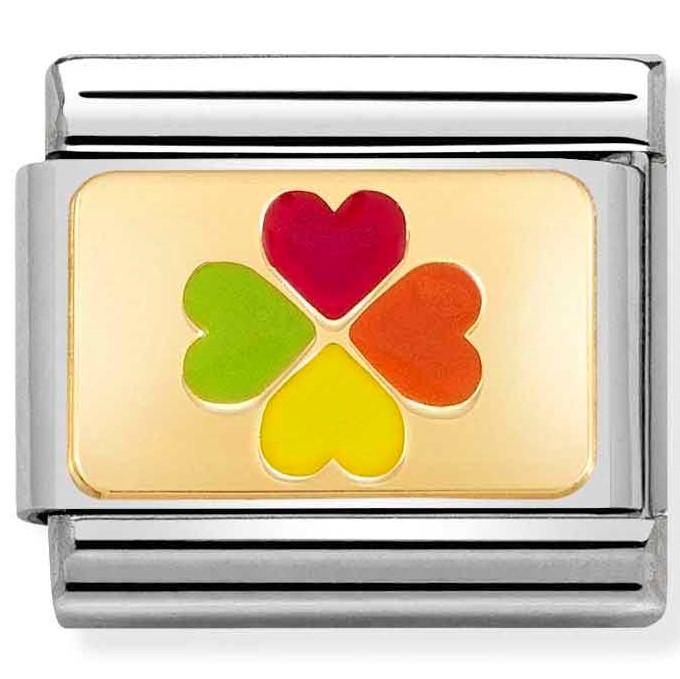 Nomination Link Rainbow Four Leaf Clover