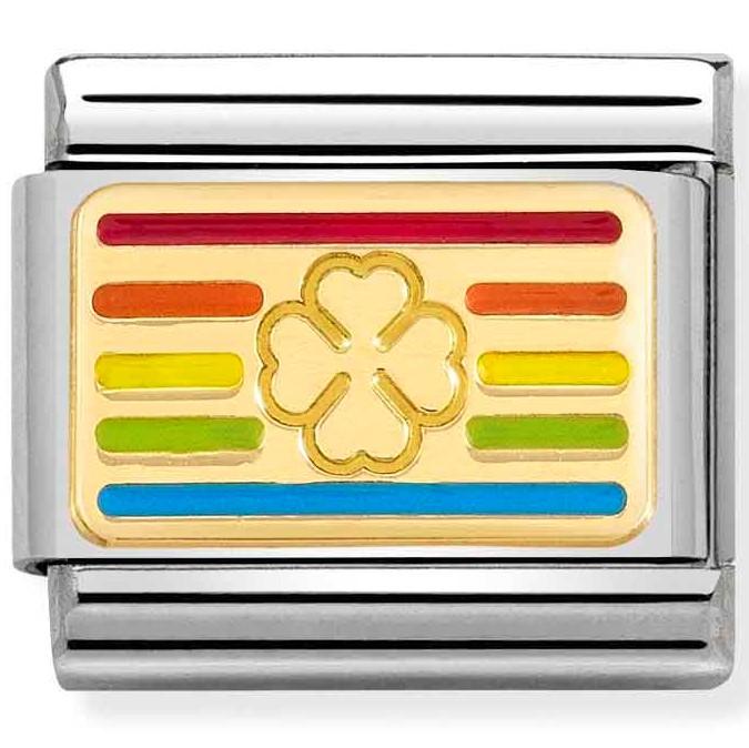 Nomination Link Rainbow Four-leaf Clover