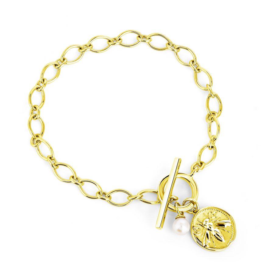 Claudia Bradby Silver Gold Plated Honey Bee Toggle Bracelet