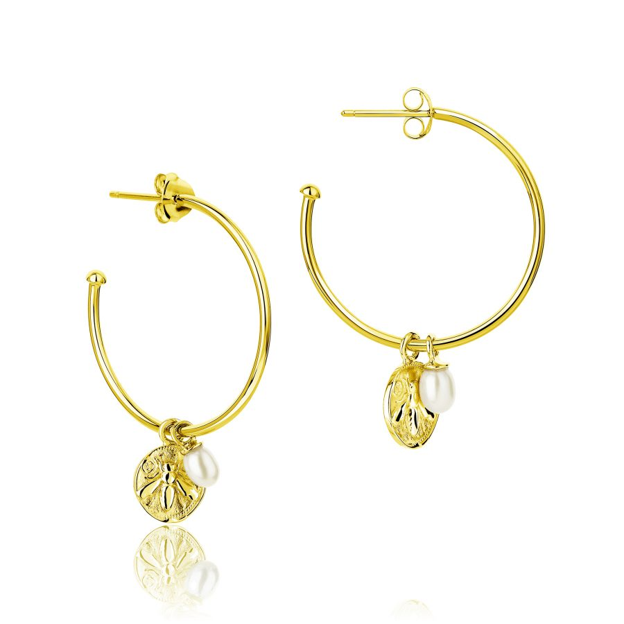 Claudia Bradby Gold Plated Honey Bee Charmed BoHo Hoop Earrings