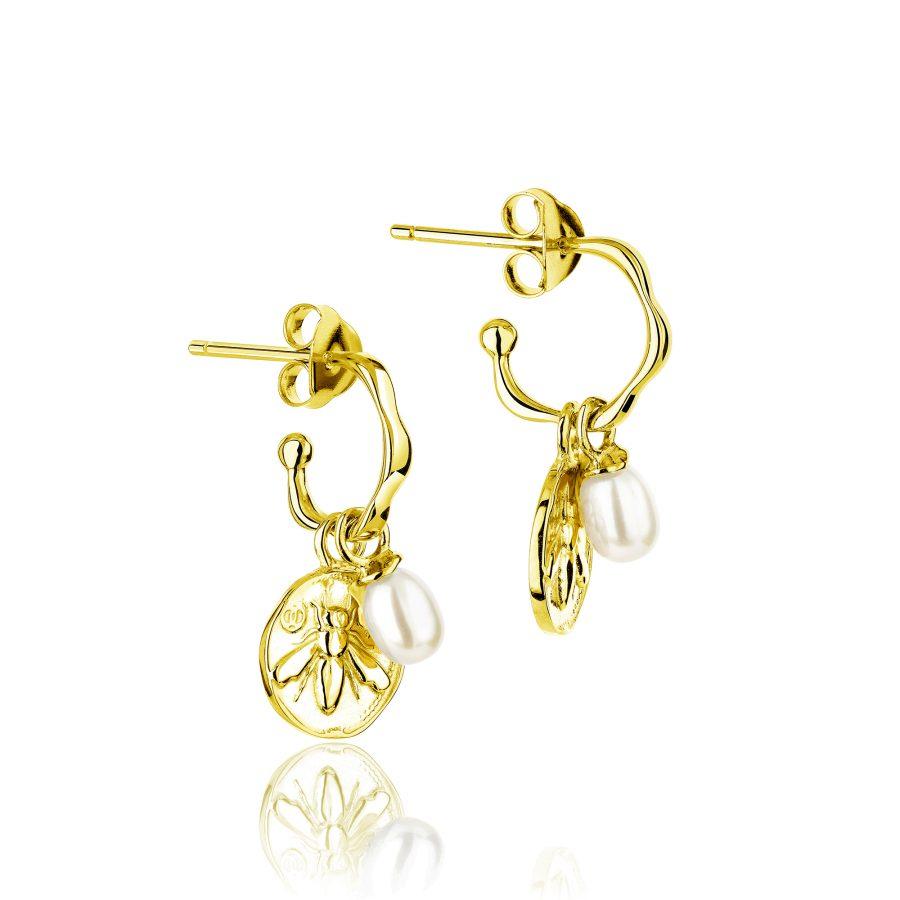 Claudia Bradby Gold Plated Honey Bee Charmed Hoop Earrings