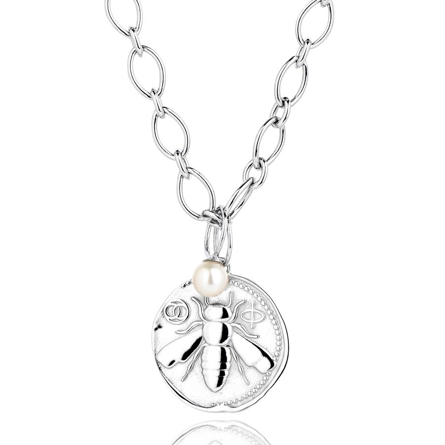 Claudia Bradby Silver Honey Bee Charm Necklace, Large Coin