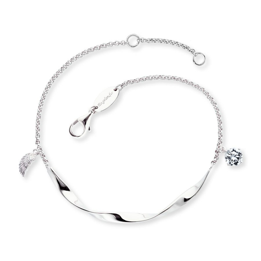 Angel Whisperer Silver Twist Wing Bracelet