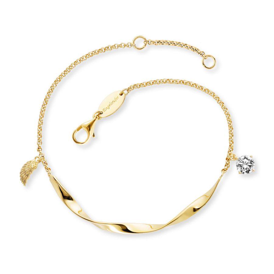 Angel Whisperer Gold Plated Twist Wing Bracelet