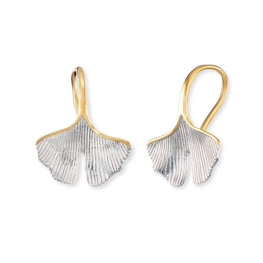 Angel Whisperer Gold Plated Ginkgo Drop Earrings
