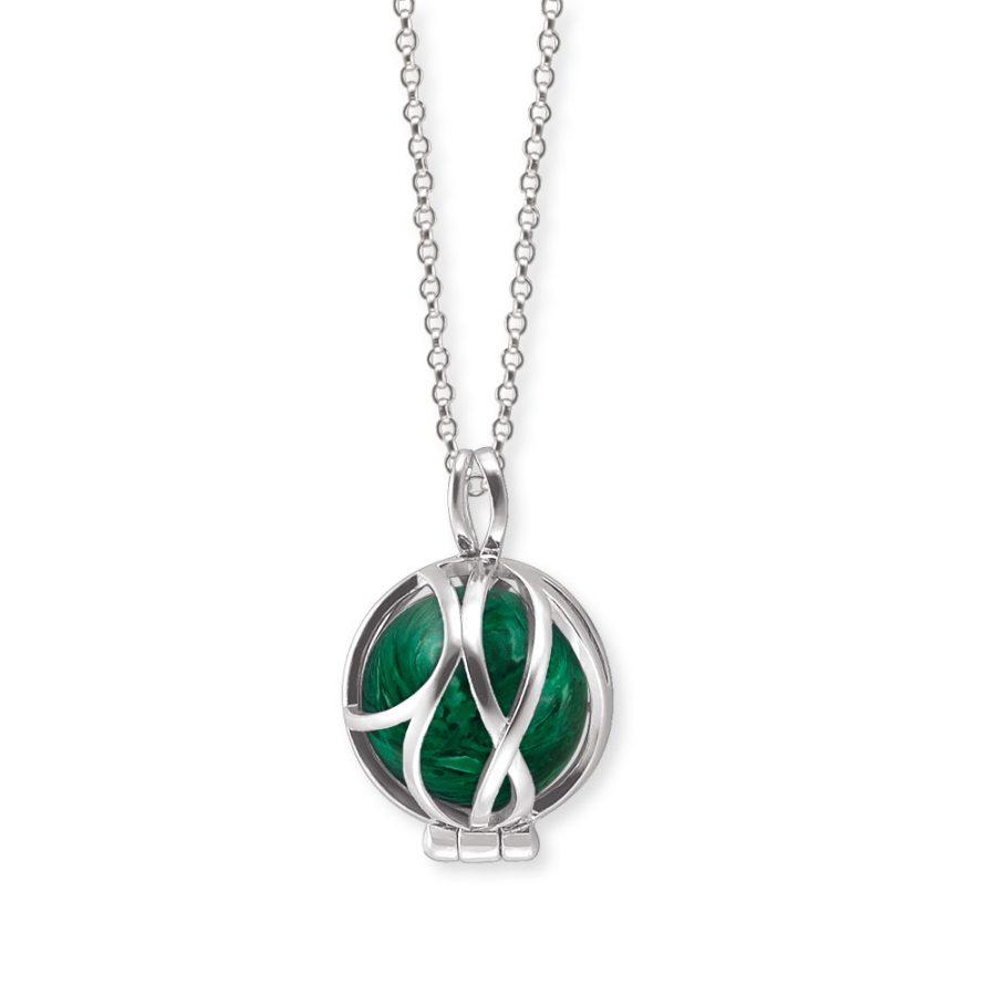 Angel Whisperer Silver Powerful Stone Malachite Pendant and Chain
