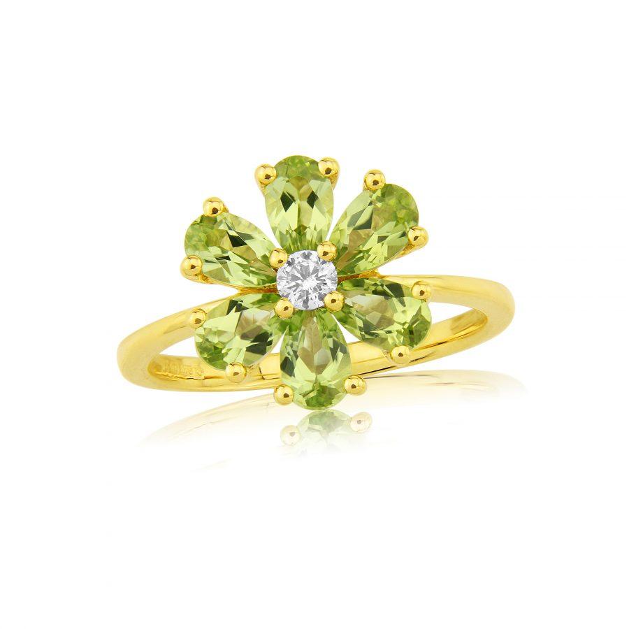 9ct Gold Peridot & Diamond Flower Cluster Ring