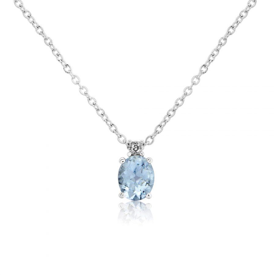 9ct White Gold Aquamarine & Diamond Pendant & Chain