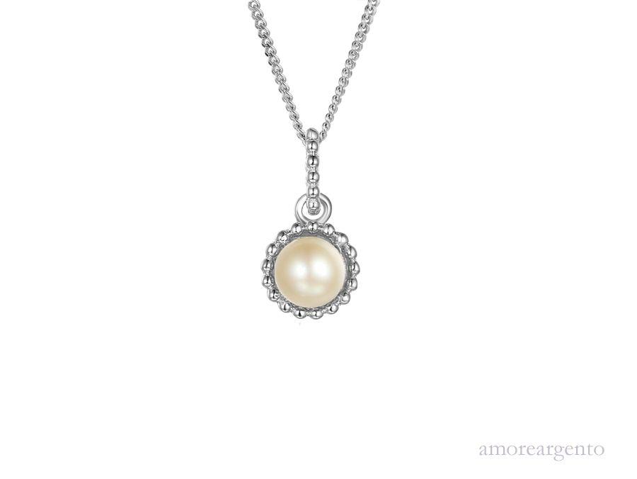Amore Silver Pearl Pendant & Chain