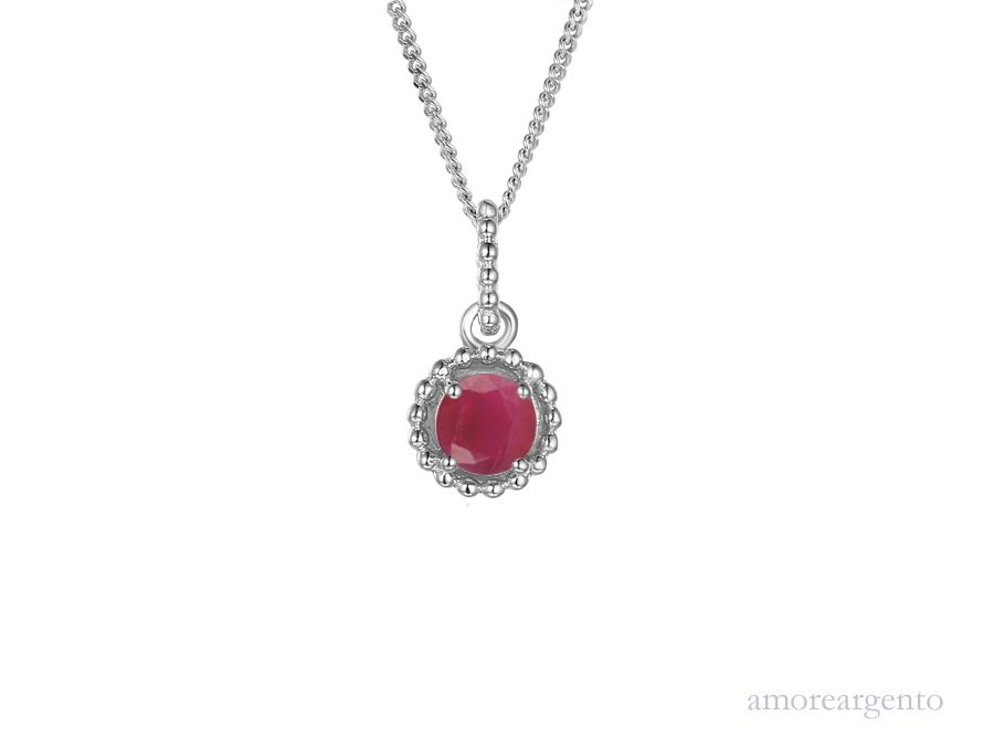 Amore Silver Ruby Pendant & Chain
