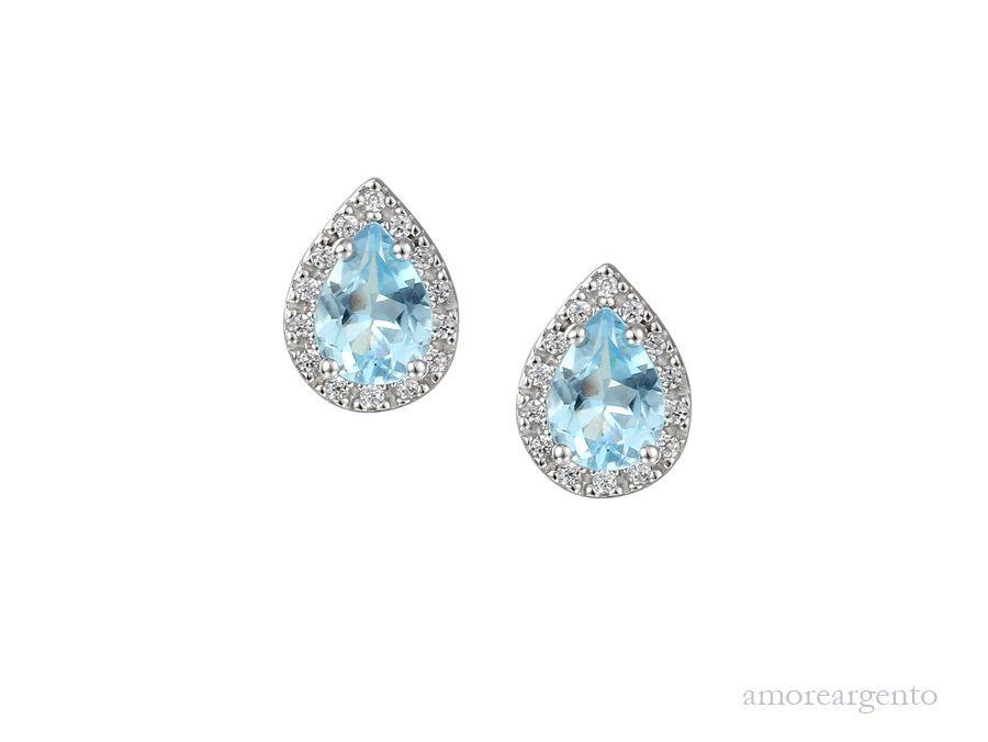 Amore Silver Topaz Stud Earrings