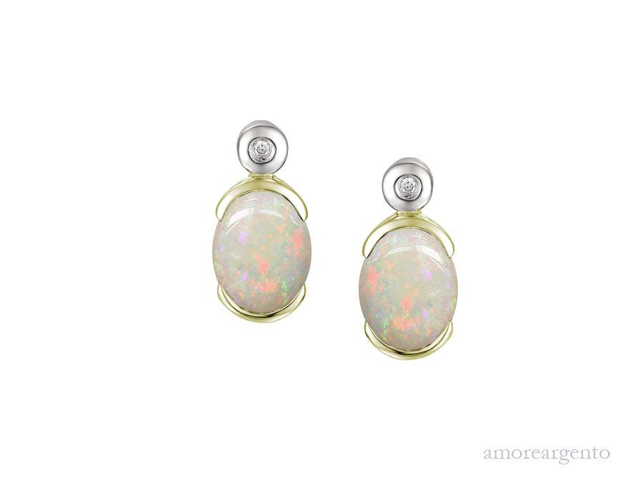 Amore Silver Opal Stud Earrings