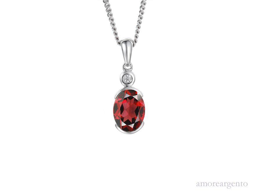 Amore Silver Garnet Pendant & Chain