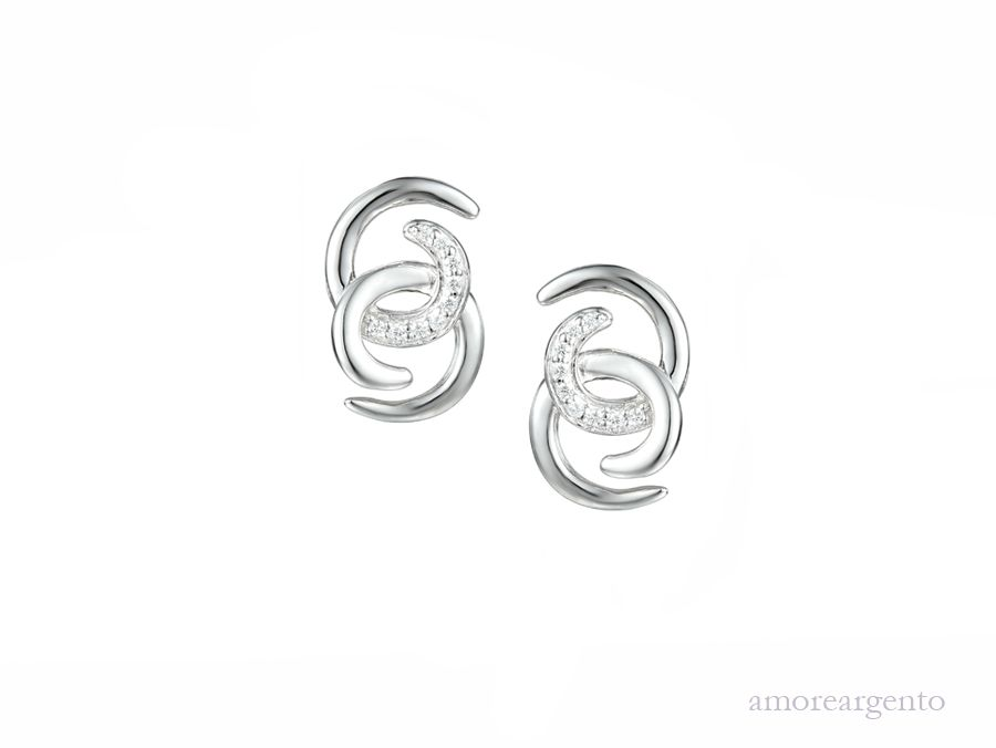 Amore Silver Cubic Zirconia Stud Earrings
