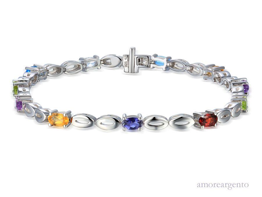 Amore Silver Multi Stone Bracelet