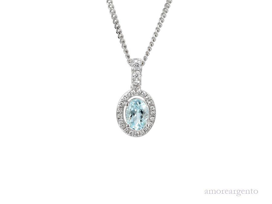 Amore Silver Aquamarine Pendant & Chain