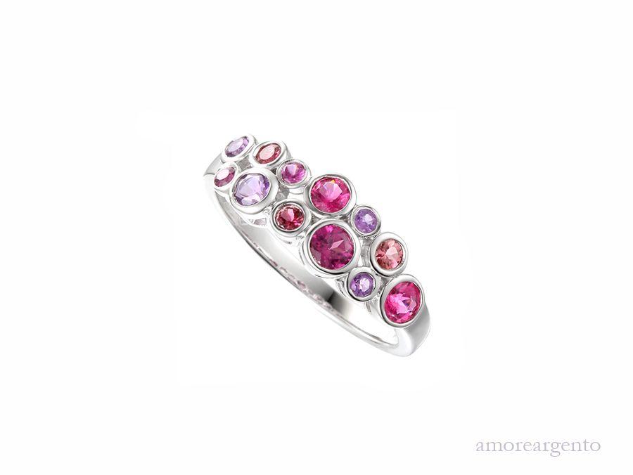 Amore Silver Multi Stone Bubble Ring