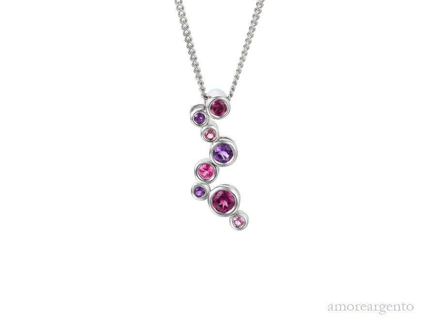 Amore Silver Multi Stone Pendant & Chain