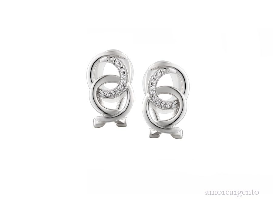 Amore Silver Cubic Zirconia Clip On Earrings