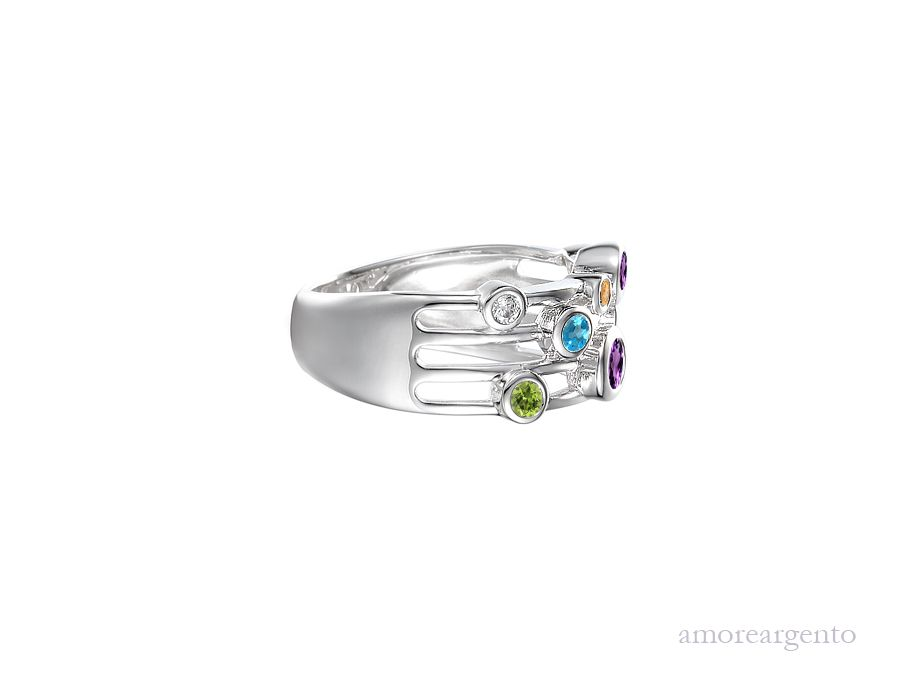 Amore Silver Cubic Zirconia Bubble Ring